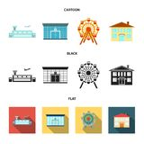 Airport, bank, residential building, ferris wheel. Building set collection icons in cartoon,black,flat style vector. Airport, bank, residential building, ferris Royalty Free Stock Photo