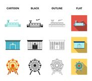 Airport, bank, residential building, ferris wheel. Building set collection icons in cartoon,black,outline,flat style. Airport, bank, residential building, ferris Royalty Free Stock Photos