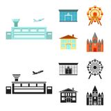 Airport, bank, residential building, ferris wheel. Building set collection icons in cartoon,black style vector symbol. Airport, bank, residential building Royalty Free Stock Photography