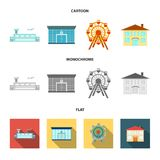 Airport, bank, residential building, ferris wheel. Building set collection icons in cartoon,flat,monochrome style vector. Airport, bank, residential building Royalty Free Stock Photos