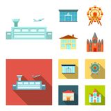 Airport, bank, residential building, ferris wheel. Building set collection icons in cartoon,flat style vector symbol. Airport, bank, residential building, ferris Stock Photography
