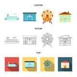 Airport, bank, residential building, ferris wheel. Building set collection icons in cartoon,outline,flat style vector. Airport, bank, residential building Stock Photos