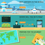 Airport banner set Stock Photos