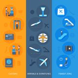 Airport Banner Set Stock Images