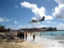 Airport Beach. Photo taken in St Maarten Royalty Free Stock Image