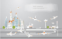 Airport of the big city White city collection Royalty Free Stock Photos