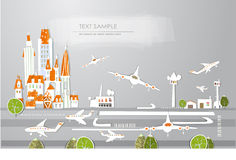 Airport of the big city White city collection Stock Photos