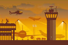 Airport. Big modern airport at dusk stock illustration