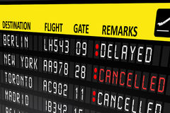 Airport billboard panel with cancelled and delayed flights Royalty Free Stock Photos
