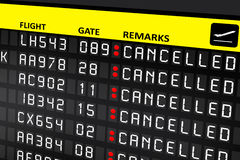 Airport billboard panel with cancelled flights. Airport electronic billboard panel with cancelled flights Stock Photography