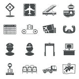 Airport black icons set Royalty Free Stock Photography