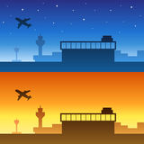 Airport blue yellow orange sky silhouette night sunset sunrise illustration. Vector Stock Photo