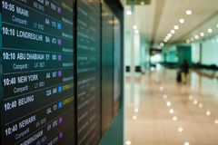 Airport board departures announces the next flights timetable stock photography