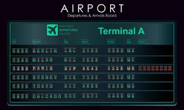 Flights scoreboard mockup departures and arrivals. Airport board with destination information, cities, schedule. Vector illustration Royalty Free Stock Photography