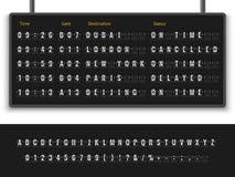 Free Airport Board. Font Alphabet Info Panel Arrival Departure Display Timetable Destination Flight Terminal Illustration Stock Images - 145078654