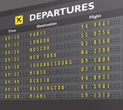Airport board print. Airport departure arrival destination mechanical analog old style counter board print vector illustration Royalty Free Stock Photos