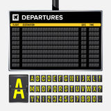 Airport Board Vector. Mechanical flip airport scoreboard. Black airport and railway timetable departure or arrival. Destination ai Stock Images
