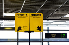 Airport boarding gate mark. Boarding gate priority and other lane mark at the airport Royalty Free Stock Image