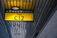 Airport Boarding Gate Sign. Typical concourse sign for a boarding gate at a major airport royalty free stock photo