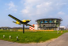 The airport of bosschenhoofd with airplane, Aviation seppe breda, the Netherlands, March 30, 2019. Airport of bosschenhoofd with airplane, Aviation seppe breda stock image