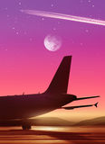 Airport in bright of the moon Stock Image
