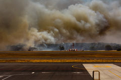 Airport Brush Fire in El Salvadore, Central America Royalty Free Stock Photography