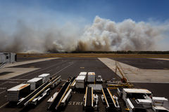 Airport Brush Fire in El Salvadore, Central America stock photo