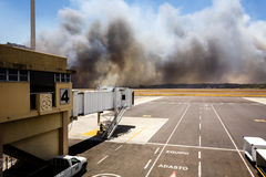 Airport Brush Fire In El Salvadore, Central America Stock Images