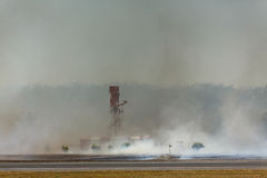 Airport Brush Fire reaches Radar Tower Stock Photos