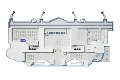Airport building from above a view without a roof. 3d rendering stock illustration