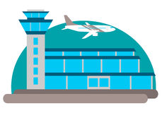 Airport building. The airport building and the aircraft on the sky background. Vector illustration Royalty Free Stock Photos