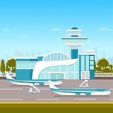Airport building and airplanes on runway. stock illustration
