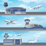 Airport building with control tower. Vector. Airport building set with control towers ans planes. Flat design. Vector Illustration Royalty Free Stock Images