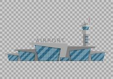 Airport building is  in the Flat style on transparent background vector illustration. Modern airport, flying. Vehicles, travel to other countries tourism symbol Royalty Free Stock Photo