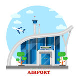 Airport building with flying airplane over tower Royalty Free Stock Photography