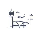 Airport building. Plane is landing. Vector line icon royalty free illustration