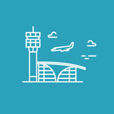 Airport building. Plane is landing. Vector line icon Stock Photos