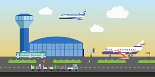 Airport building and plane runway area vector flat design Stock Photos