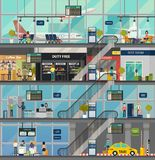 Airport building structure with rooms and people royalty free illustration