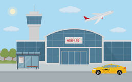 Airport building, taxi cab and bus stop. Stock Photos