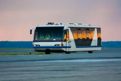 Airport bus in the morning. Light Royalty Free Stock Images