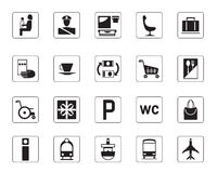 Airport, bus and railway icons set Stock Photos