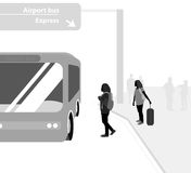 Airport bus service. Vector silhouette people traveler background Royalty Free Stock Photos