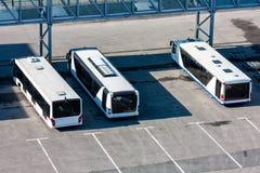 Airport buses at the parking. Near passenger boarding bridge Stock Image