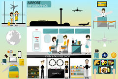 Airport business info graphics template and travel element. activity in airport and worker in airport royalty free stock photo