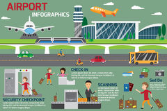 Airport business infographics template and travel element. Stock Photography