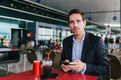In airport cafe Royalty Free Stock Photo