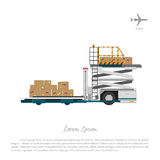 At the airport. Cargo lift for loading the goods and luggage. Ca Stock Photos