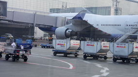 Airport Cargo Wagons, Workers, and Airport Work stock video footage
