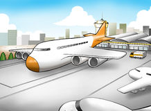 Airport. Cartoon illustration of an airport Royalty Free Stock Photography